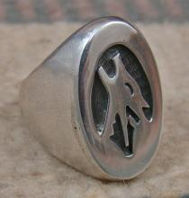 Heavy Hopi Wolf Bust Silver Overlay Cast Ring