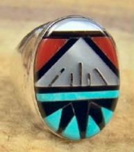 Zuni Oval Faced Multi Stone Geometrical Inlay Cast Ring