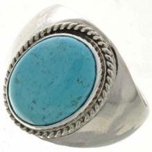 Natural Kingman Turquoise Mens Ring Navajo Silver