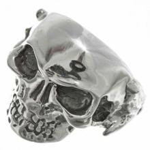 Silver Skull Biker Mens Ring Arrowhead Shank