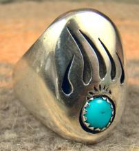 Navajo Turquoise Bear Paw Shadowbox Cast Ring