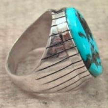 Heavy Navajo Oval Turquoise Nugget Cast Ring By R.jack