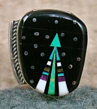 Large Navajo Multi Stone Father Sky Shooting Arrow Ring By M.jack