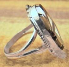 Navajo Multi Stone Geometrical Channel Inlay Ring By Skeets/dawes