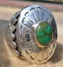 Heavy Navajo Turquoise Concho Prayer Fans Cast Ring