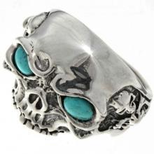 Biker Mens Ring Silver Skull Turquoise Eyes