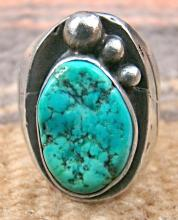 Vintage Navajo Turquoise Silver Drops Cast Ring
