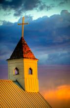 Church Against A Sunset Sky. A Gallery Wrapped Canvas By Kelly Wade