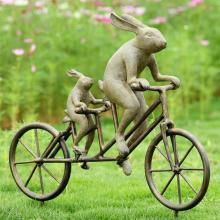 Art Tandem Bicycle Bunnies Sculpture