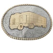 Silver Gold Trophy Belt Buckle Big Rig Free Hand Engraved