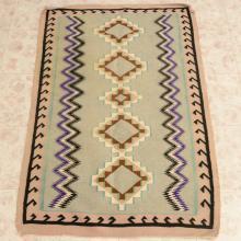 Southwestern Style Wool Rug Flat Woven 52