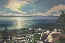 Tahoe Moonlight.  A Moonlit Tahoe Lake.  A Gallery Wrapped Canvas By Keith Brown