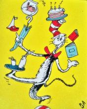 Oil Painting Dr. Suess Cat In The Hat One Fish