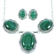 Authentic Sterling Silver Malachite Link Necklace Earrings Set