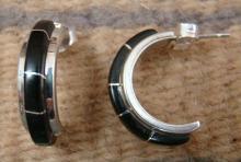 Zuni 10ct Black Jet (onyx) Inlay Half Hoop Earrings By K. Nastacio