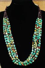 Navajo 7 Strand Turquoise Heshi Necklace By E.m. Teller