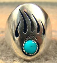 Navajo Turquoise Bear Paw Shadowbox Cast Ring Sz.11