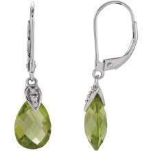 14K White Peridot & .025 CTW Diamond Earrings