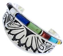 Water Wave Southwest Multicolor Sterling Silver Cuff Bracelet