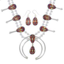 Silver Southwestern Multicolor Inlay Squash Blossom Necklace Set
