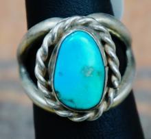 Vintage Navajo Turquoise Cast Ring Sz. 5 3/4
