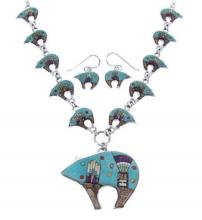 Turquoise Multicolor Bear Link Mesa Design Necklace Set