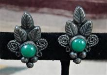 40's Mexican Jade Leaf Decorated Screw Back Earrings