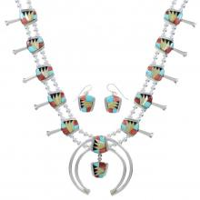 Multicolor Inlay Sterling Silver Squash Blossom Necklace Set