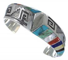 Multicolor Inlay Sterling Silver Southwest Cuff Bracelet