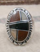 Lg Heavy Navajo Multi Stone Geometrical Inlay Cast Ring By D&f James Sz 12 1/2