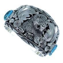 Genuine Sterling Silver Navajo Turquoise Bear Cuff Bracelet