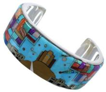 Multicolor Silver Native American Design Cuff Bracelet