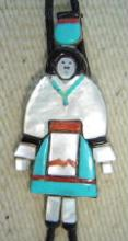 Older Navajo Multistone Inlay Water Maiden Collector's Bolo By Carol Kee