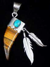 Navajo/southwest Carved Tiger Eye Bear Claw Pendant W/turquoise And Feathers By Running Bear