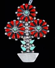 Lg Zuni 37pc Turquoise Coral Potted Flower Pin/pendant By K.bobelu
