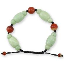 Untreated Natural Green Red Jade Bracelet