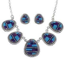 Southwestern Multicolor Silver Link Necklace Set