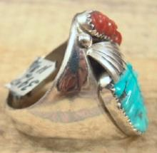 Heavy Zuni Carved Turquoise Coral Wings Cast Ring Sz 11 3/4