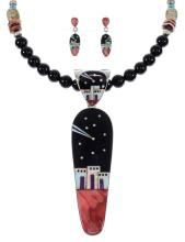 Silver Multicolor Native American Village Design Necklace And Earring Set