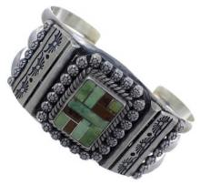Navajo Turquoise Native American Sterling Silver Cuff Bracelet