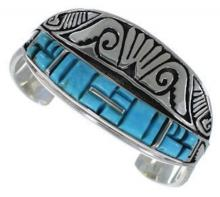Southwest Turquoise Sterling Silver Water Wave Cuff Bracelet