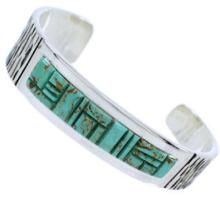 Turquoise Inlay And Genuine Sterling Silver Cuff Bracelet