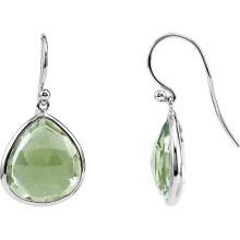 Rhodium-Plated Sterling Silver Genuine Green Quartz Earrings