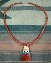 Santo Domingo (kewa) Graduating Apple Coral Heishi Mosaic Inlay Necklace By D&t Crespin