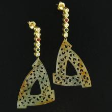 Untreated Yellow Water Jadeite Jade Earrings