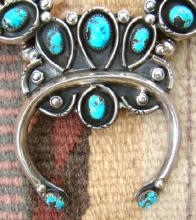 Lg Heavy Vintage Navajo 20 Stone Turquoise Squashblossom Necklace