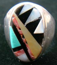 Vintage Zuni Multistone Geometrical Inlay Cast Ring By J.r. Bowannie Sz 10 3/4