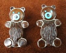 Zuni Turquoise Jet Brown Agate Teddy Bear Earrings By E.leekela