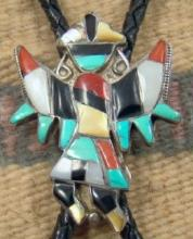 Vintage Zuni Multi Stone Inlay Knifewing/rainbow Man Bolo