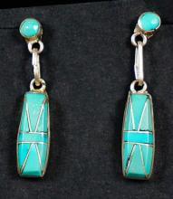 Zuni 8 Stone Inlay Dangle Earrings By Phylis Lucio
